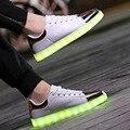 7 cores luzes LED sapatos das mulheres dos homens de carregamento USB casais sapatos apartamentos apartamentos de moda rendas até sapatos shuffle fluorescente luminosa