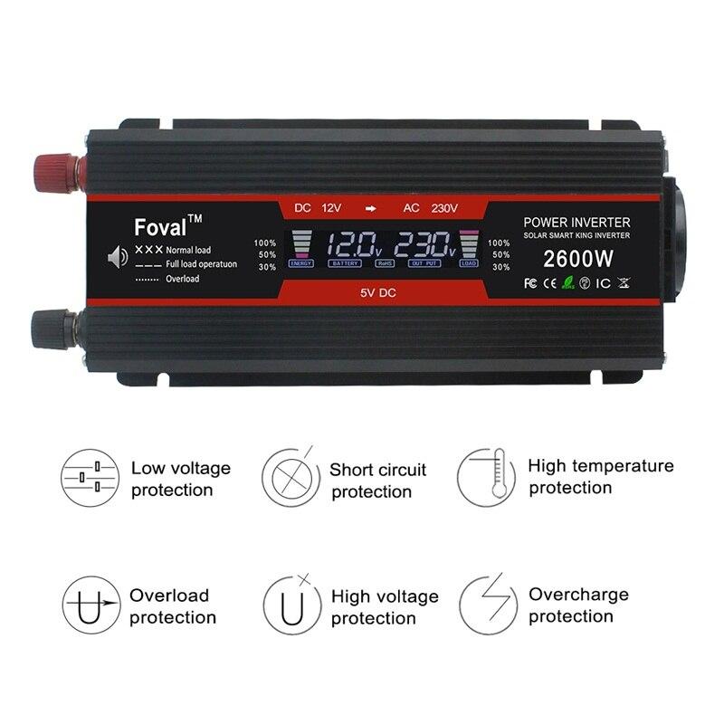 1500 W/2000 W/2600 W onduleur à onde sinusoïdale modifiée affichage LCD DC 12 V à AC 220 V solaire 2 USB transformateur de voiture convertir prise EU - 2