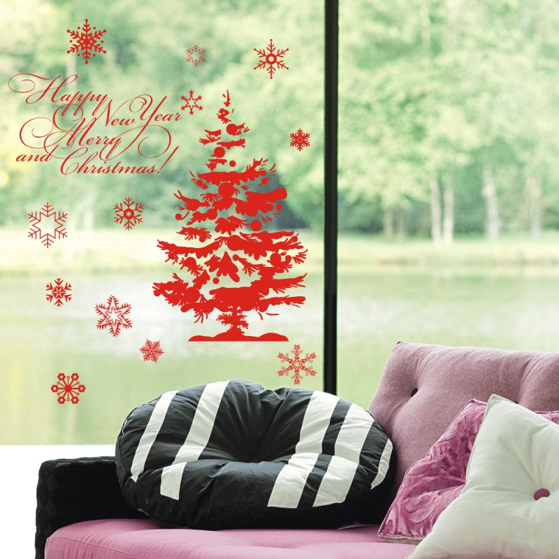 free shipping large 2015 christmas tree glass window wall sticker decal home decor shop decoration x - Glass Tile Living Room 2015