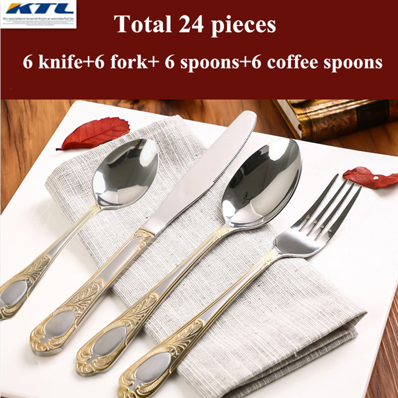Ktl 24pcs Set Cheap Dinnerware High Quality Stainless