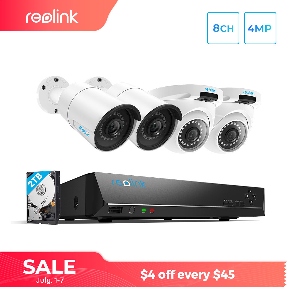 Reolink 8ch 4MP/5MP PoE NVR w 2 Bullet&2 Dome HD 4MP PoE IP Camera Outdoor Video Surveillance Camera System 2TB RLK8-410B2D2-5MP 翻轉 貓 砂 盆