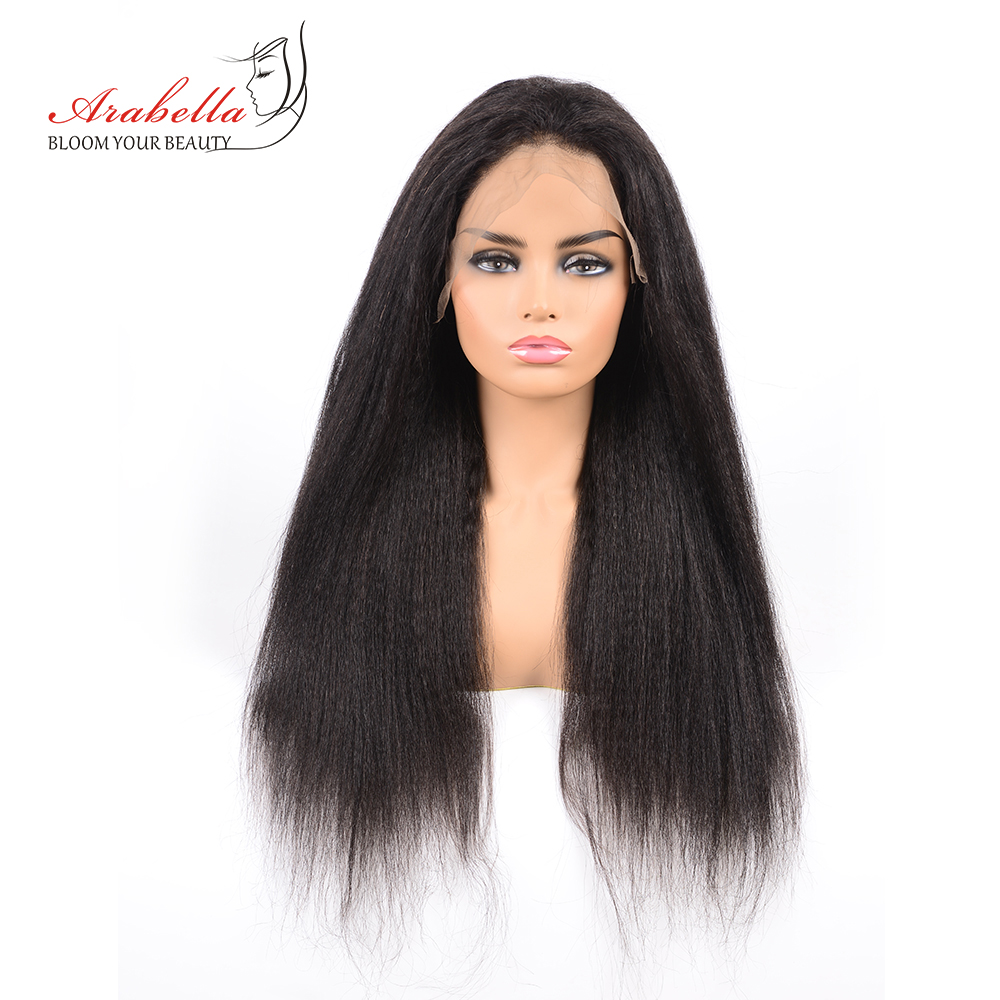 Arabella Brazilian Kinky Straight Lace Front Human Hair Wigs Natural Color Remy Hair Pre Plucked Lace Front Wig 13*4 Lace Wig