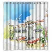 Hot Selling Polyester Shower Curtain Waterproof Print Coffee House Bath Screen Size 168x182cm With