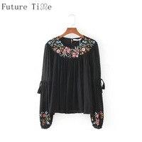 Future Time Women Chiffon Blouse Flower Embroidery Shirt Black Transparent Tops Women Lace Up Long Sleeve