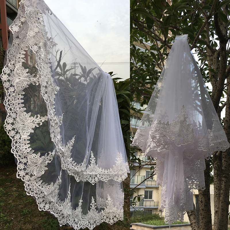 Vintage White Ivory Wedding Veil 2 Layers Bridal Lace Veil With Combe 75cm Elbow Length 2019 Wedding Accessorie in Bridal Veils from Weddings Events