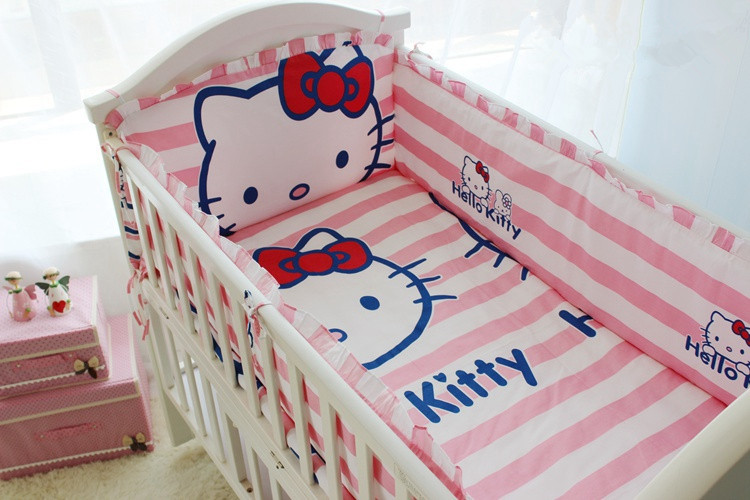 Promotion! 6/7PCS crib baby bedding kit 100% cotton baby bedding Sets bed around , 120*60/120*70cm