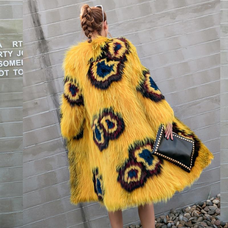 Renard Cool 2019 Y Fansty Coloré Lady Impression Fox De Moyen Manteaux Douille Réel Manteau Femmes Fourrure cou Or O cou Naturel D'o Pleine M xwnXSqdzX
