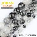 AAA contas de Quartzo Rutilado Preto Natural de cristal Pedra Redonda bola Solta pérola 6/8/10/12 MM pulseira acessórios de jóias fazendo DIY