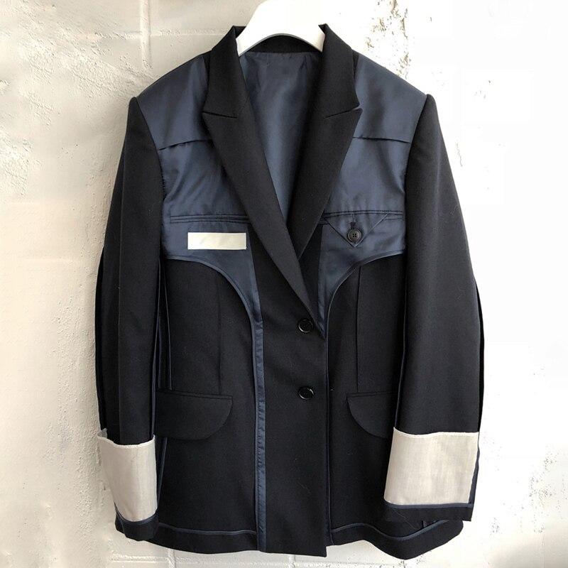 TWOTWINSTYLE Patchwork ผู้หญิง Blazer เสื้อแจ็คเก็ต Lapel เสื้อแขนยาวเสื้อ Tops หญิงเสื้อผ้าแฟชั่นสไตล์อังกฤษ 2019 ฤดูใบไม้ร่วง-ใน เสื้อเบลเซอร์ จาก เสื้อผ้าสตรี บน   3