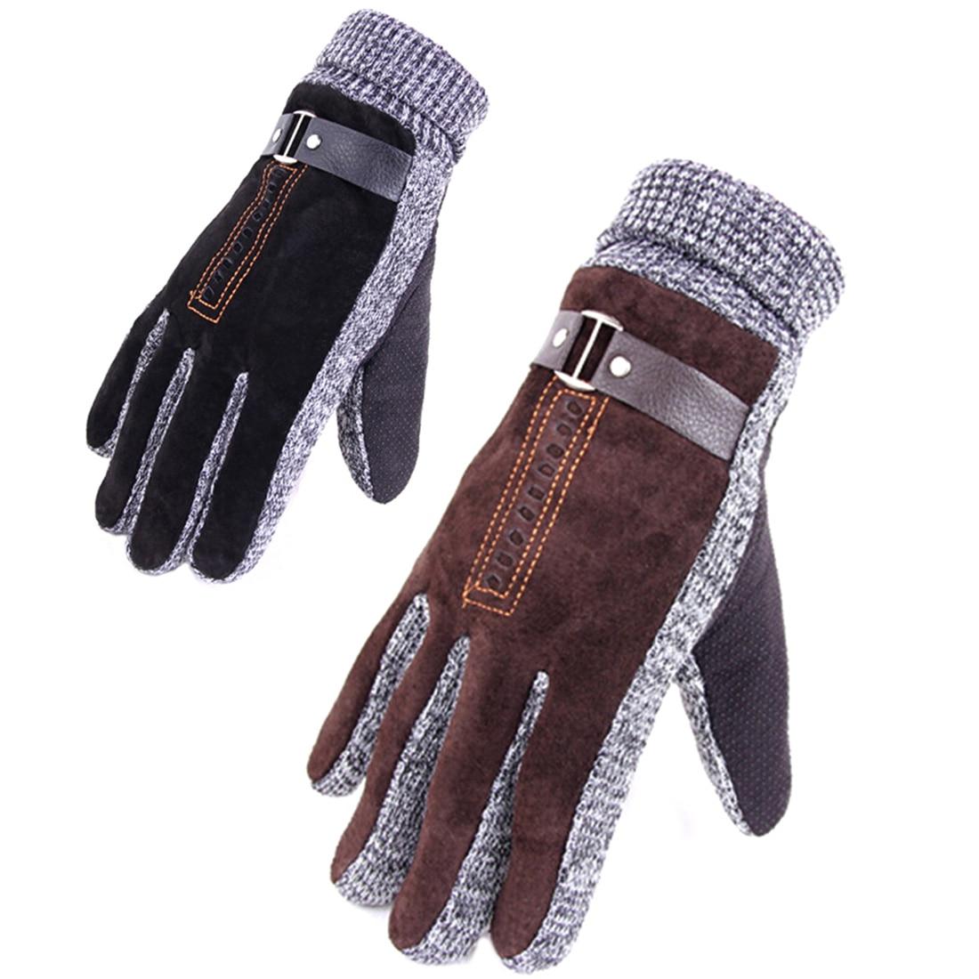 Mens gloves fashion - Pigskin Gloves High Quality Winter Thicken Fleece Warm Men S Leather Gloves For Men Mittens Long Gloves Male Leather Gloves 0062 In Gloves Mittens From