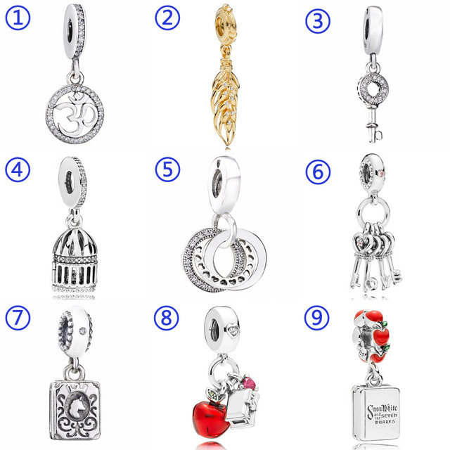 a829df669 Snow White's Apple And Heart Free As A Bird Keys Of Love Pendant Charm Fit Pandora  Bracelet 925 Sterling Silver Bead Diy Jewelry