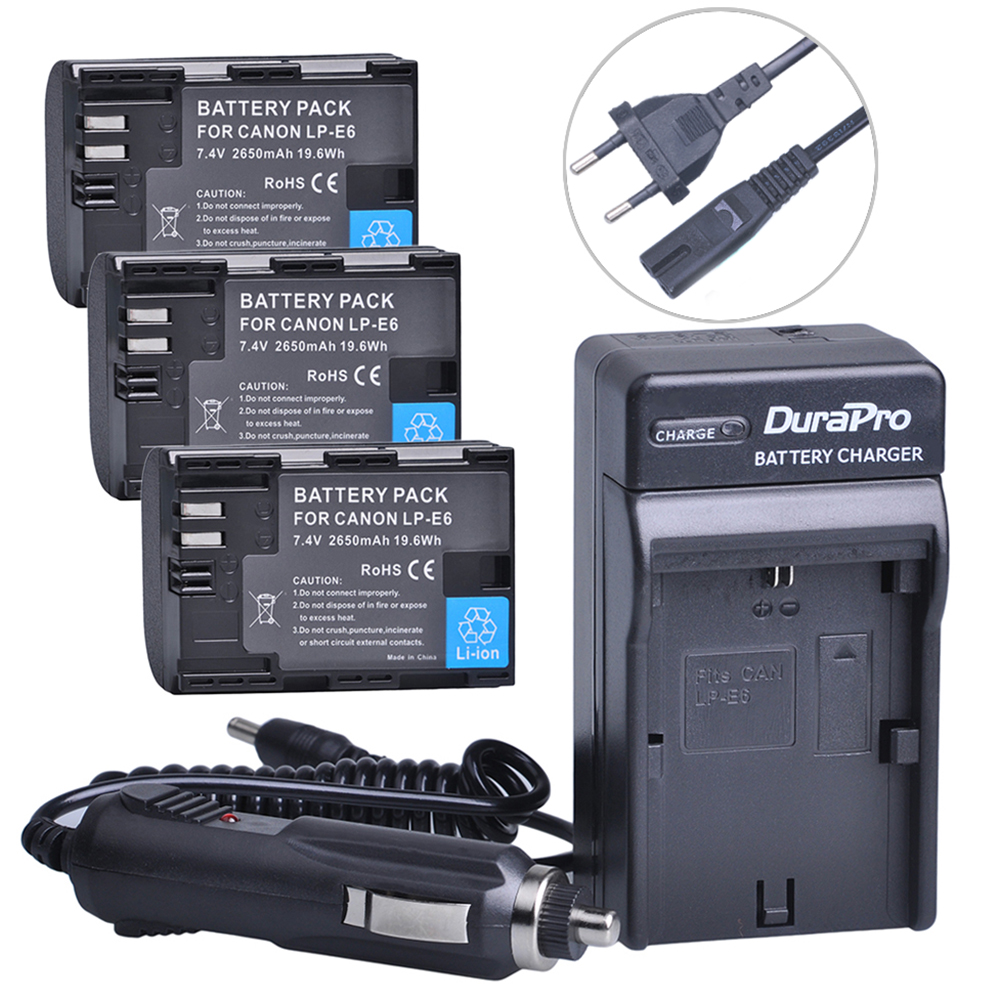 3pc LP-E6 LP E6 LPE6 LP-E6N Rechargeable Battery+Car Charger+AC Cable For Canon LP-E6 EOS 5DS R 5D Mark II 5D Mark III 6D 7D 80D dste lp e6 7 4v 2600mah decoded li ion battery for e0s 5d mark ii e0s 5d mark iii more black