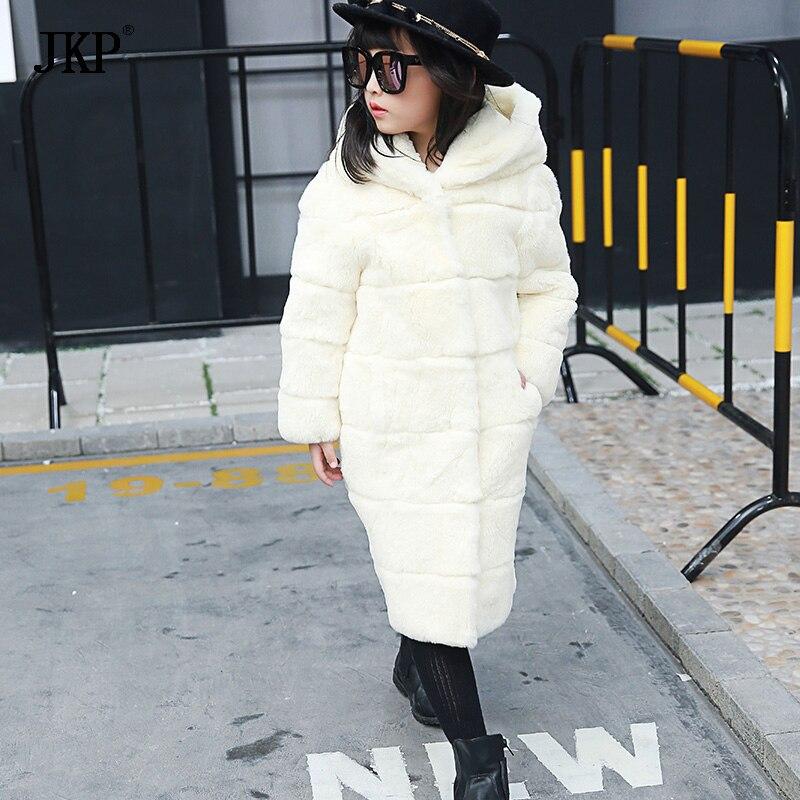 JKP 2018 Новое натуральное Рекс кроличий мех цельная кожа детское меховое пальто длинное с капюшоном толстое теплое пальто для маленьких девочек модные куртки CT 12