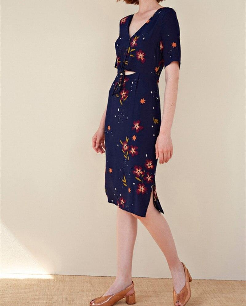 2019 New Women Sweet Midi Dress Summer Flower Print Short Sleeve Front Hollow Out Design Elegant