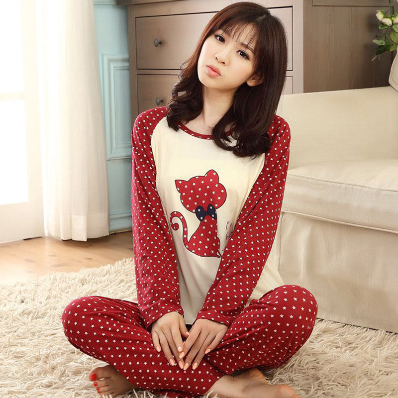 Autumn Winter Women Pajamas Animal Cartoon Print Pajama Sets Cotton Long Sleeve Loose Sleepwear