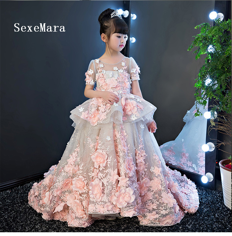 Image 3 - Real Picture New Flower Girls Dress Baby Girl Clothes Lace 3D Flowers Applique Puffy Tulle Kids Birthday Gown Custom Made-in Dresses from Mother & Kids
