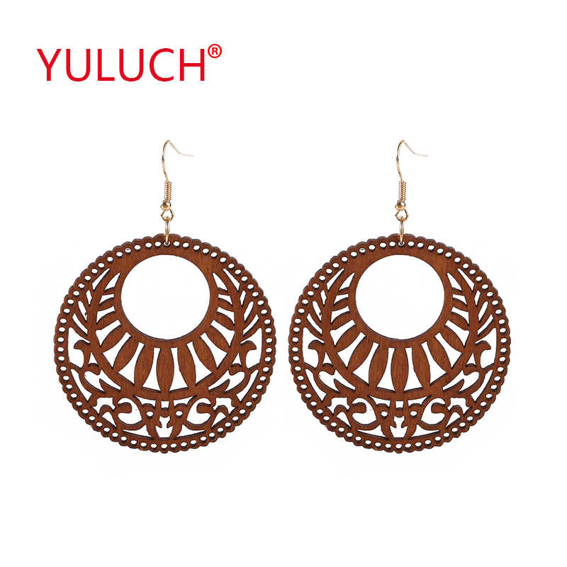 YULUCH Engraving design natural handmade round hollow national jewelry for fashion African women earrings party gifts
