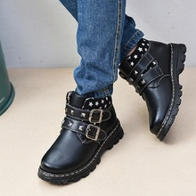 New winter children's shoes baby boy shoes genuine leather snow  boots  winter warm  slippoof and waterproof shoes British style