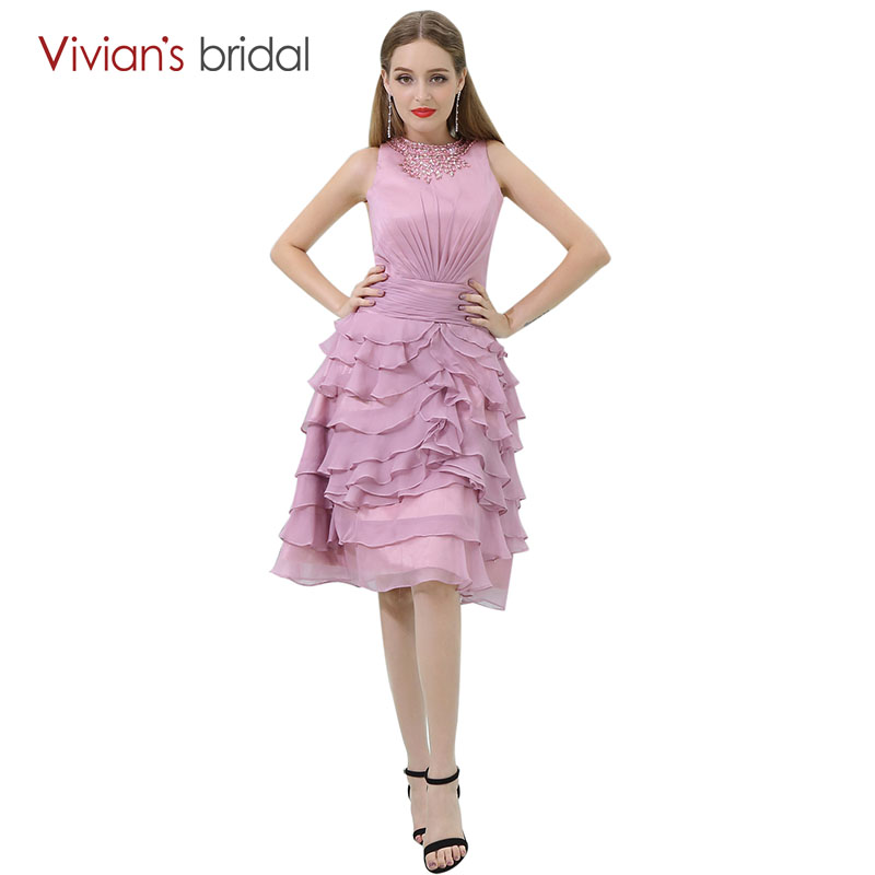 Cocktail     Dresses   A Line Beaded Crystal Sleeveless Chiffon Party   Dress   Tiered vestido de festa curto