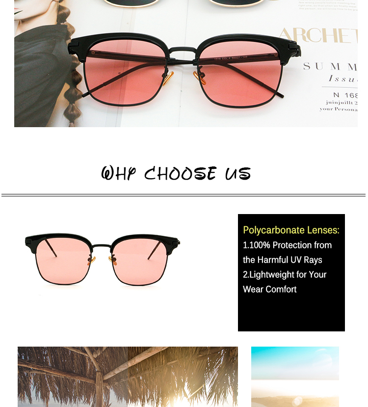 Vintage Metal Half-Rim Sunglasses Women 2018 Tidien Retro Plastic Mirror Shopping Fishing Ray Classic Sun Glasses Women 1319 (3)