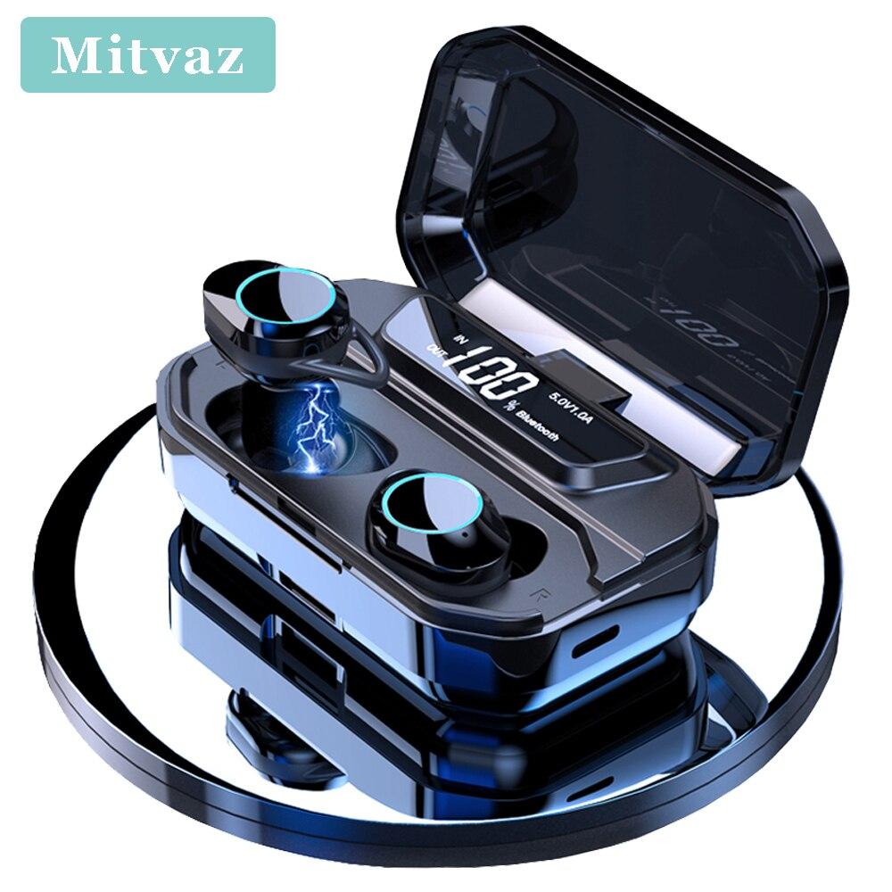2019 Nouveau Mitvaz G02 TWS Bluetooth 5.0 9D Stéréo Sans Fil Écouteurs IPX7 Imperméable 3300 mAh LED batterie externe intelligente support pour téléphone