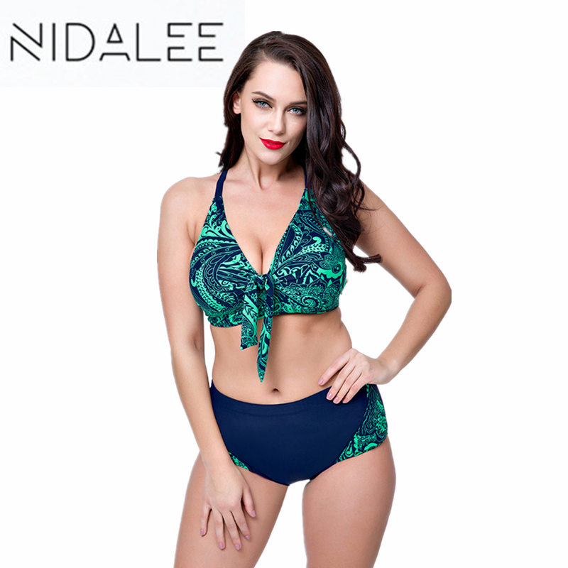 NIDALEE Plus Size Bikini Set Push Up Swimwear Swimsuit Women 8XL Large Bikinis Fat Retro Bathing Suit Maillot De Bain Swimsuits hot sale plus size bikini 2017 new sexy swimwear women swimsuit large size bikini set maillot de bain push up bra swimsuit