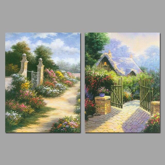 4 pi ces fleurs jardin village campagne d coration wall for Decoration jardin campagne
