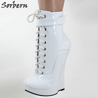 Sorbern Woman Boots Sexy Fetish Super High 18CM Super Wedge Heel Pointed Toe Zipper Cross tied Ankle BALLET Boots For Woman