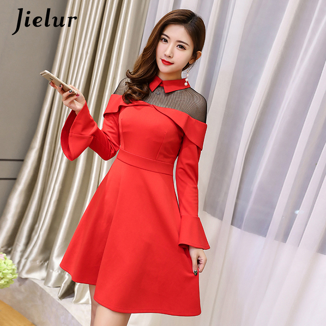 c81888b637 Jielur Vintage Mesh Patchwork Kpop Dress Elegant Flare Sleeve Solid Color  Vestidos Mujer 2018 Red Black High Street Robe Femme