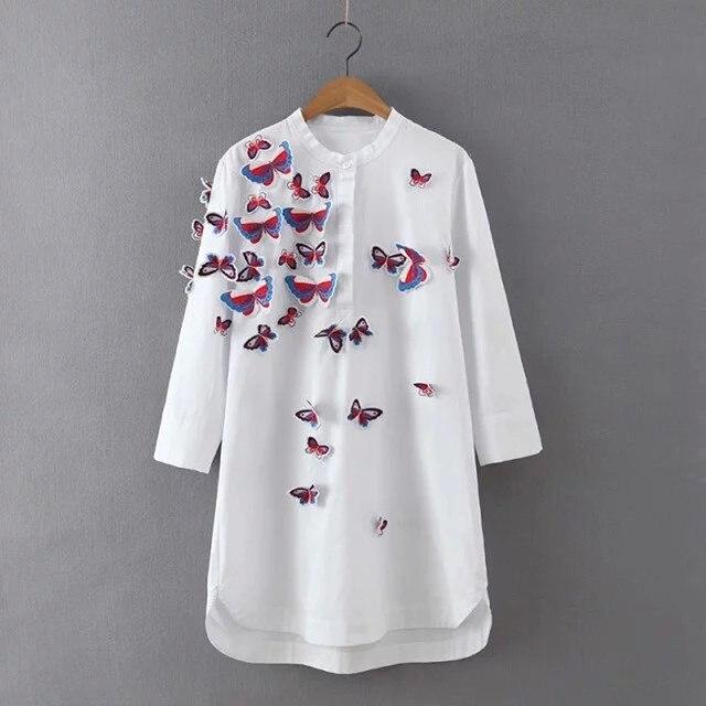 [Soonyour] 2016 горячие новый Европейский Мода Полный Хлопок Трехмерная Бабочка Рубашка женщины черный с длинными рукавами CH1770S