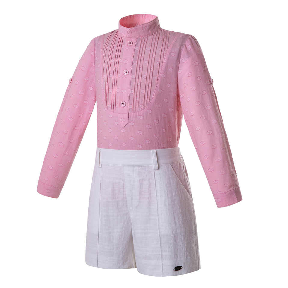 Pettigirl ורוד בני בגדי סט צווארון עומד עם קפלים חולצה ולבן מכנסיים ילדים בגדי B-DMCS201-B506