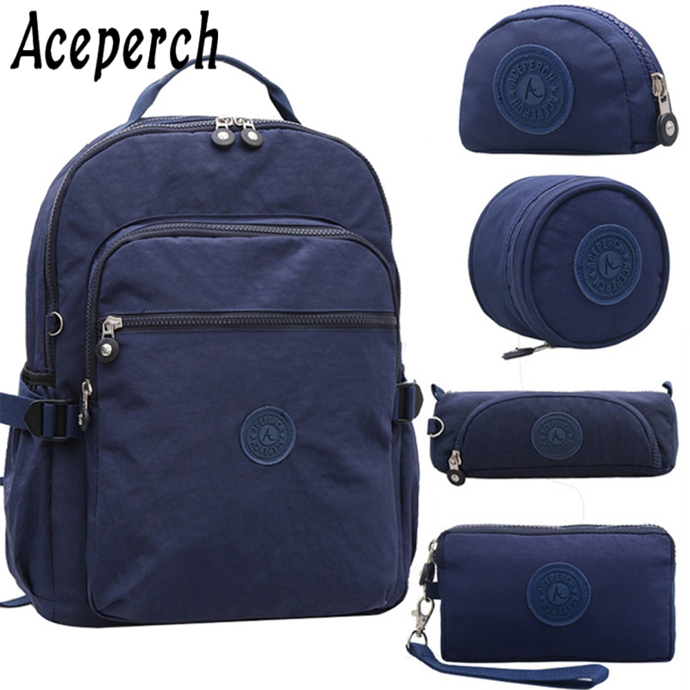 ACEPERCH Girl School Original Backpack For Teenage Girl Waterproof Mochila Feminina Mujer Women Solid Laptop Travel Bagpack Bag