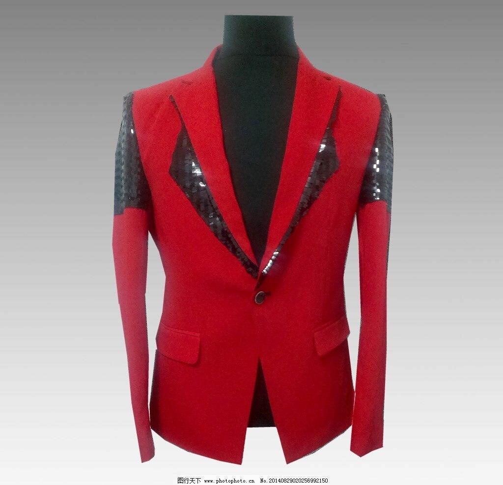 Blazer Masculino Man Phnom Penh Punk Men's Sequin Costume Suit Korean Version Of The Self-cultivation Red Casual Suit Jacket Men