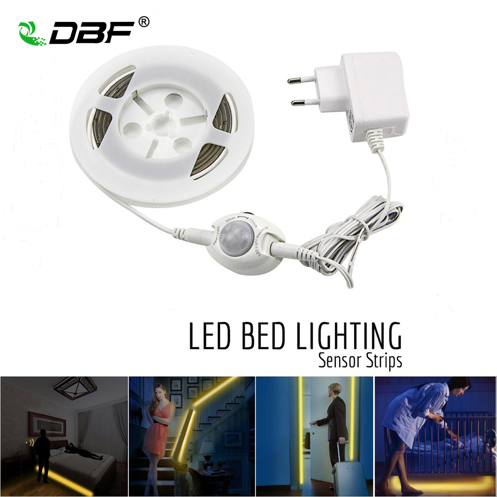 [DBF]Motion Activated Bed Light,1.2M 36LED Motion Sensor Night Light SMD2835 Strip Bedside Lamp with Automatic Shut On/Off Timer