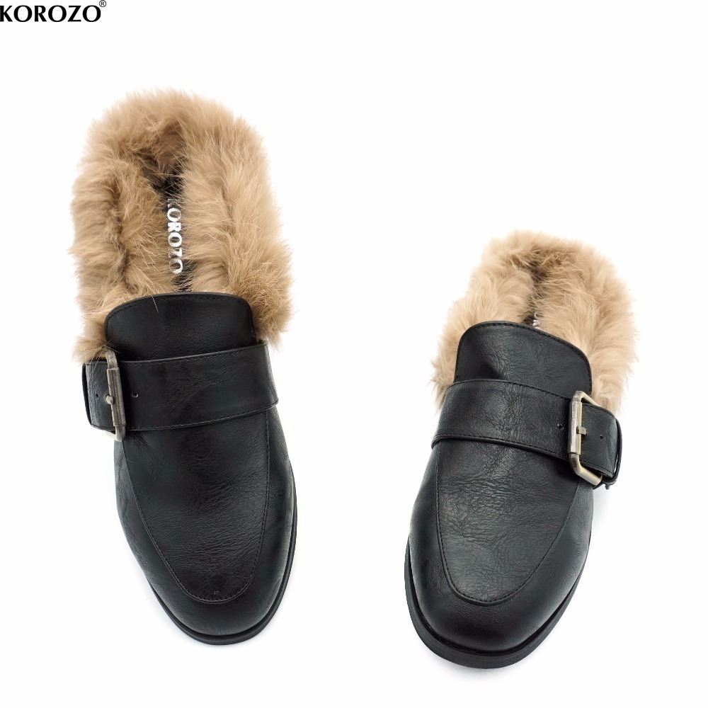 2017 Women Rabbit Fur Slides Girls Mules Chiara Ferragni Furry Slipper Flat Heel Platform Flip Flops