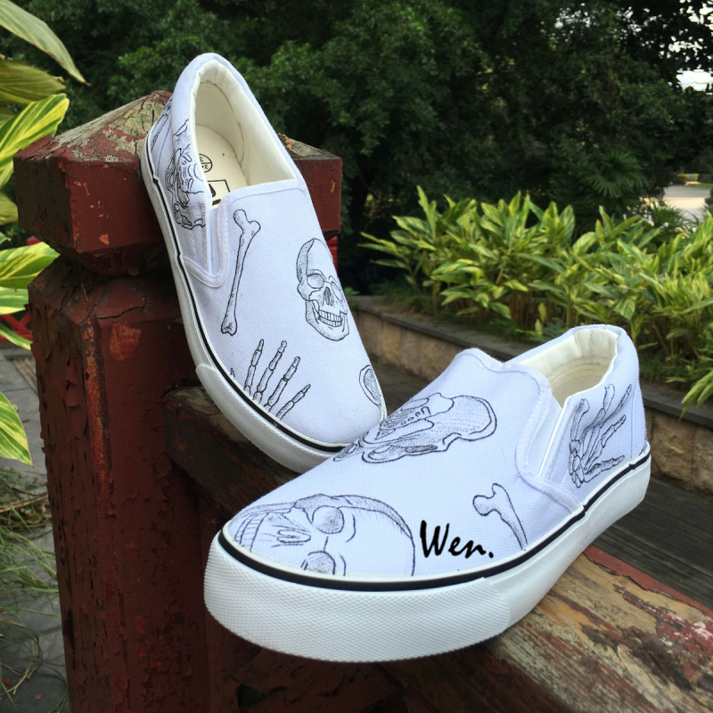 Wen Original Hand Painted Design Shoes Human Skeleton Skull Hand Bones Slip On Custom White Women And Men Canvas Sneakers halloween decor fake human bones lifelike plastic skeleton haunted house decorations props loose bones 28 pieces