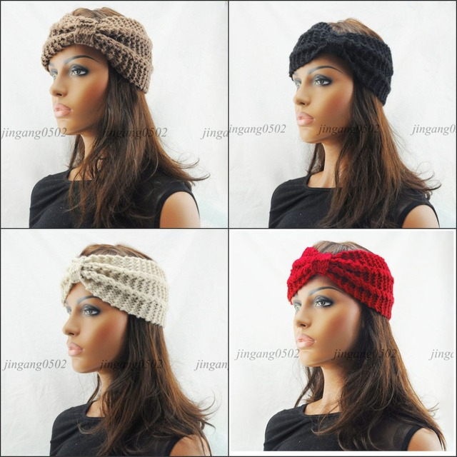 Nueva turbante Crochet giro punto invierno diadema mujeres broche ...