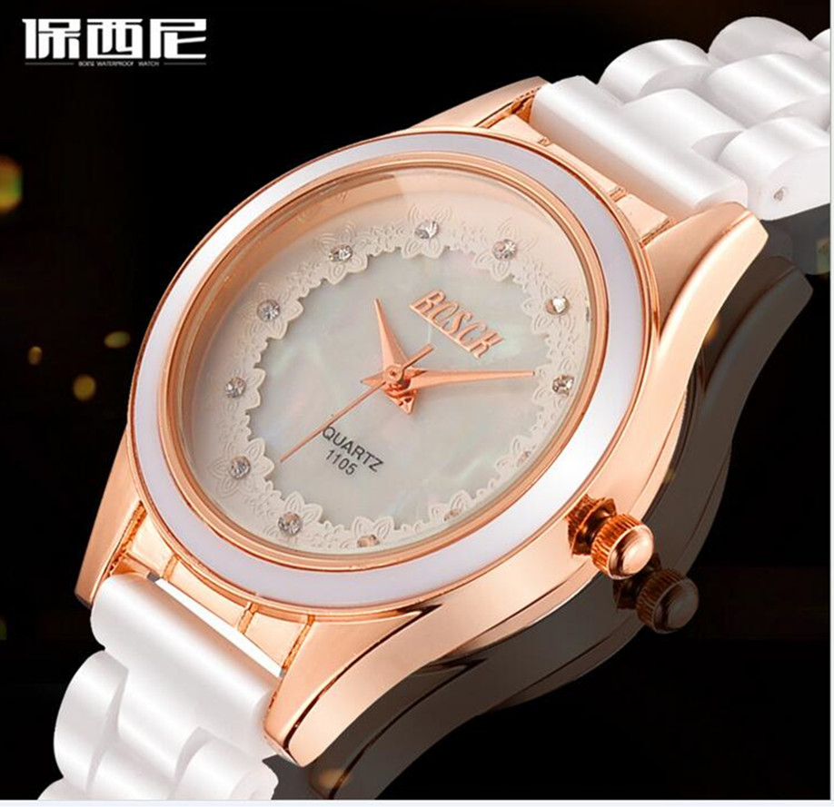 BOSCK women's fashion of ceramic watches, Bohemian dress, shell color, diamond waterproof, leisure, quartz watch, 1105 #
