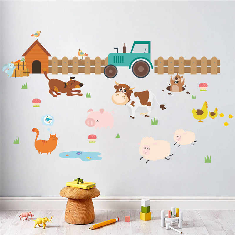 Cartoon Farm Animals Fence Cattle Dog Wall Stickers For Kids Rooms Nursery Room Home Decor Pvc Wall Decals Diy Mural Art Posters