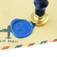 Baby Footprints Wax Seal Stamp Brass Stamp Baby Shower Invitation Logo