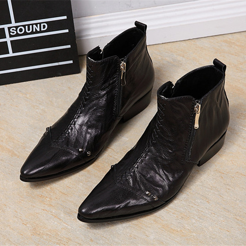 OKHOTCN Platform High Heel Shoes For Male Genuine leather Men Pointed Toe Ankle Men's Dress Boots Height Increasing Runway Shoes велосипед giant xtc composite 29er 2 ltd 2014