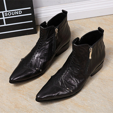 OKHOTCN Platform High Heel Shoes For Male Genuine leather Men Pointed Toe Ankle Men's Dress Boots Height Increasing Runway Shoes