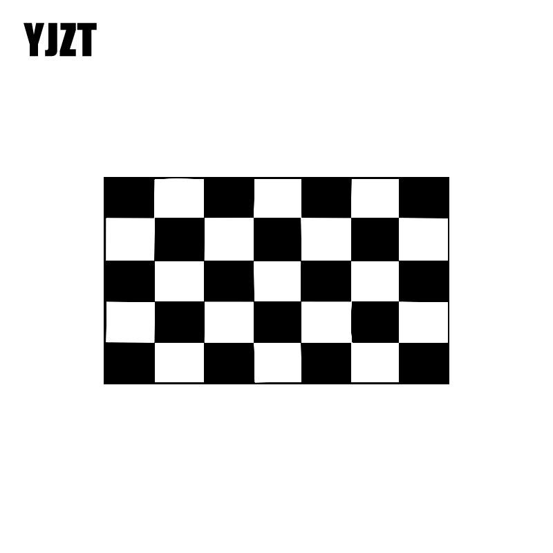 YJZT 15.5CM*9.2CM Fashion Race Checkered Flag Vinyl Retro-reflective Car Sticker Decal Black/Silver C11-1298