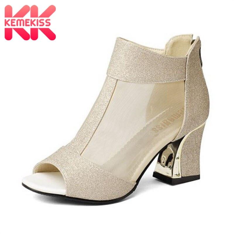 KemeKiss Size 32-43 Women Peep Toe Sandals Women Shoes Zipper Glitter High Heel Sandals Summer Shoes Woman Sexy Gold Heel Sandal