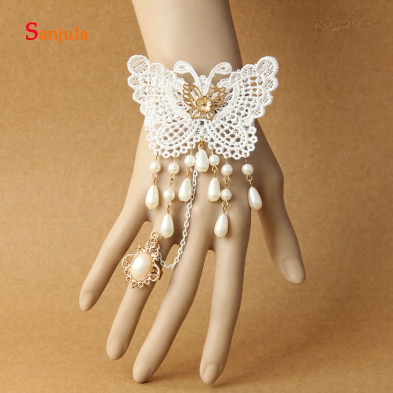 Gloves With Butter Fly Charming Wedding Glives Short Wrist Length Pearls Bracelet With Ring Gilrs Prom/Cocktail Party Gloves G66