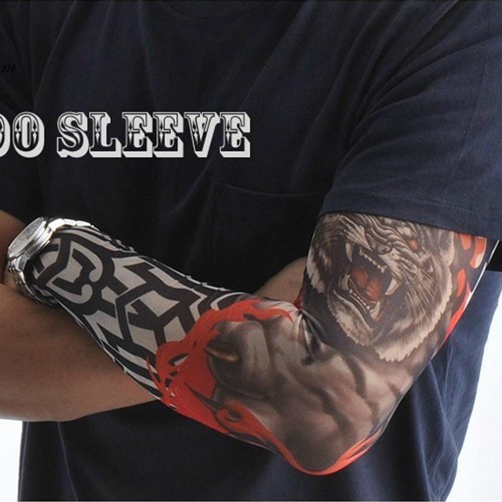 Men's Accessories 1pc Cool Multi Colors Superfine Fiber Elastic Fake Tattoo Sleeve Arm Stockings Temporary Tatoo Skins Sun Protective 2018 New Hot Apparel Accessories