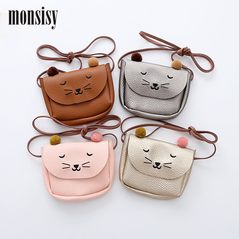 Monsisy Girl Coin Purse Children's Wallet Small Change Purse Kid Bag Coin Pouch Money Holder Cute PU Leather Cat Baby Handbag