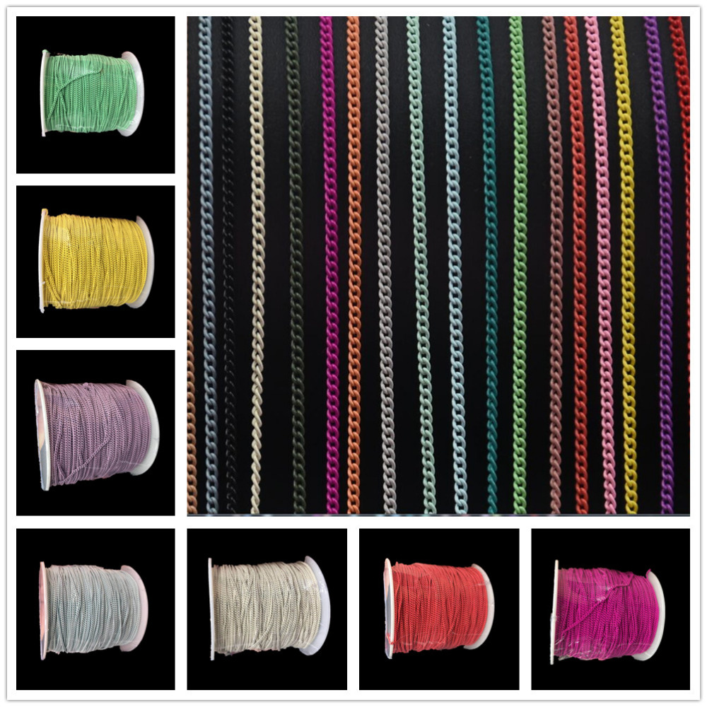 100M 23Colors Metal 1mm Chains Punk Cross 3D New Nail Chain Art Decorations Charm Jewelry Findings