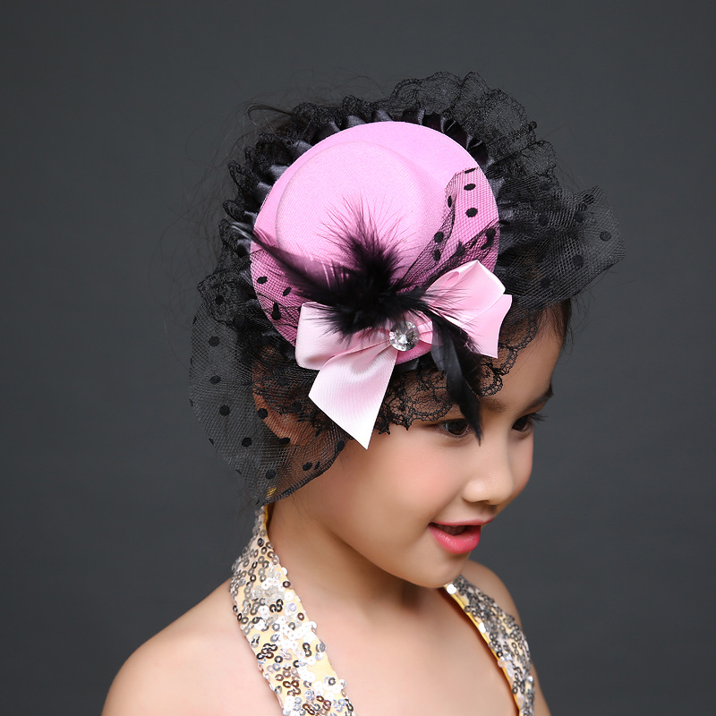 New Fashion Ribbon Flower Cute 5cm Party Cap Hairpins Festival Hat Hair Clip With Fur Children Hair Accessories Baby Hair Clip Complete In Specifications Girl's Accessories