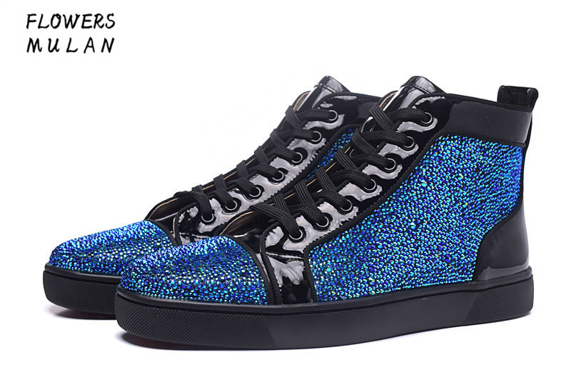 Men Designer Shoes Unisex Bling Blue Glitter Spike Studs Red High Top - Men's Shoes
